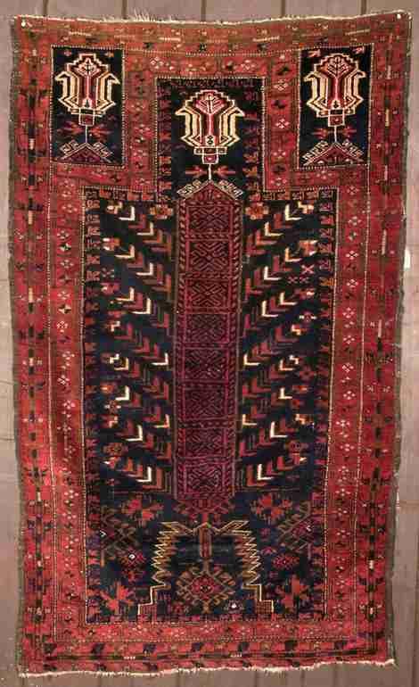 19th century Rare Baluch prayer rug, The Antique Rug & Textile Show 2009 in San Francisco