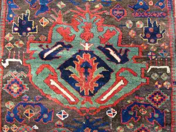 Detail of a Sauj Bulag rug, The Antique Rug & Textile Show 2009 in San Francisco